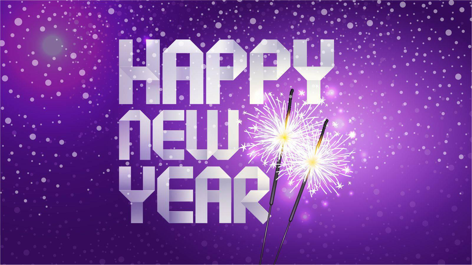 Happy New Year written in white on a purple background with two sparklers
