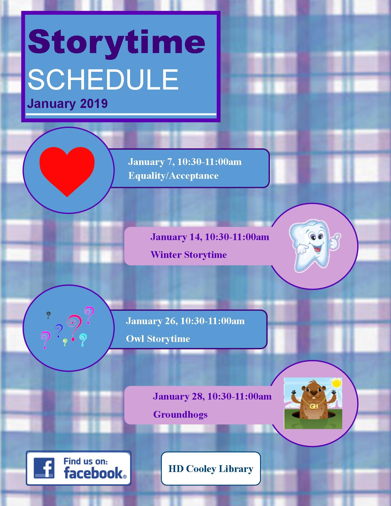 January Storytime themes