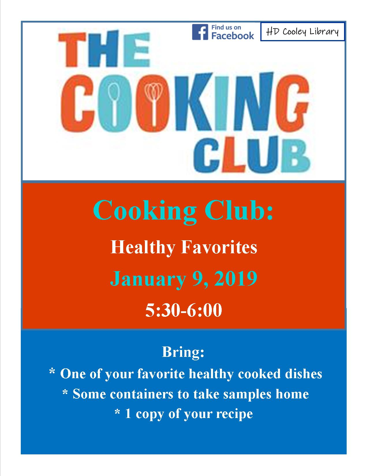Cooking Club schedule and theme