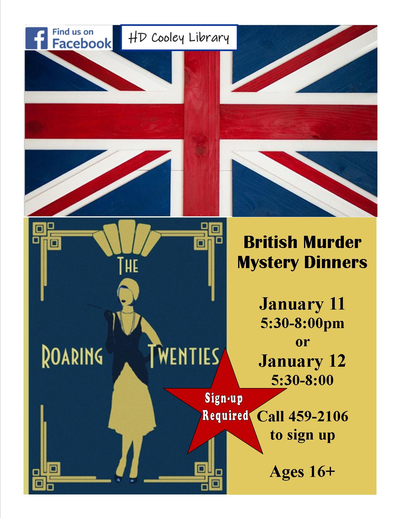 British Murder Mystery Dinner schedule