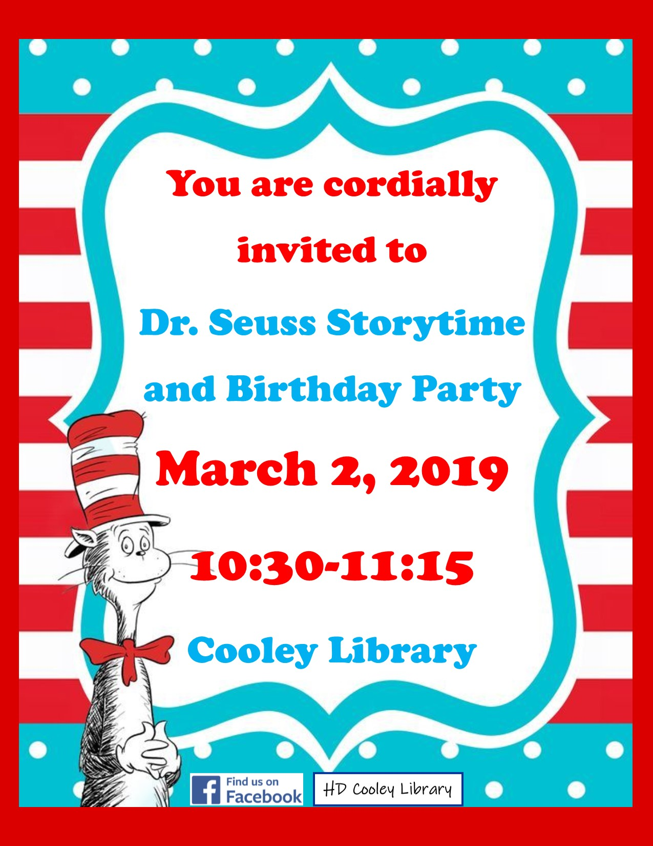 Seuss Storytime and Birthday Party