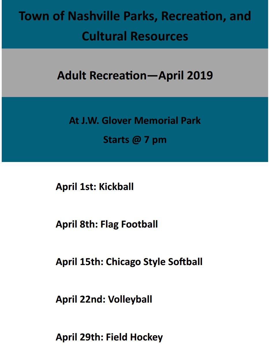 Adult Recreation Flyer for April 2019