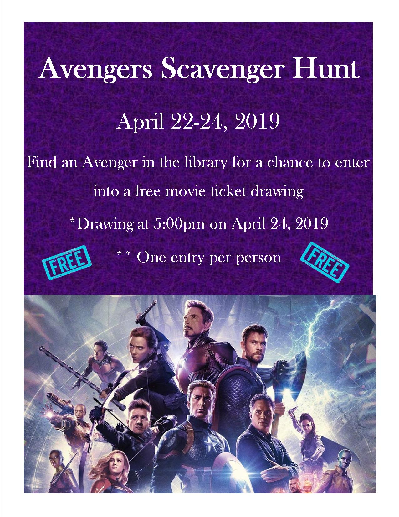 Avengers Scavenger Hunt time and date