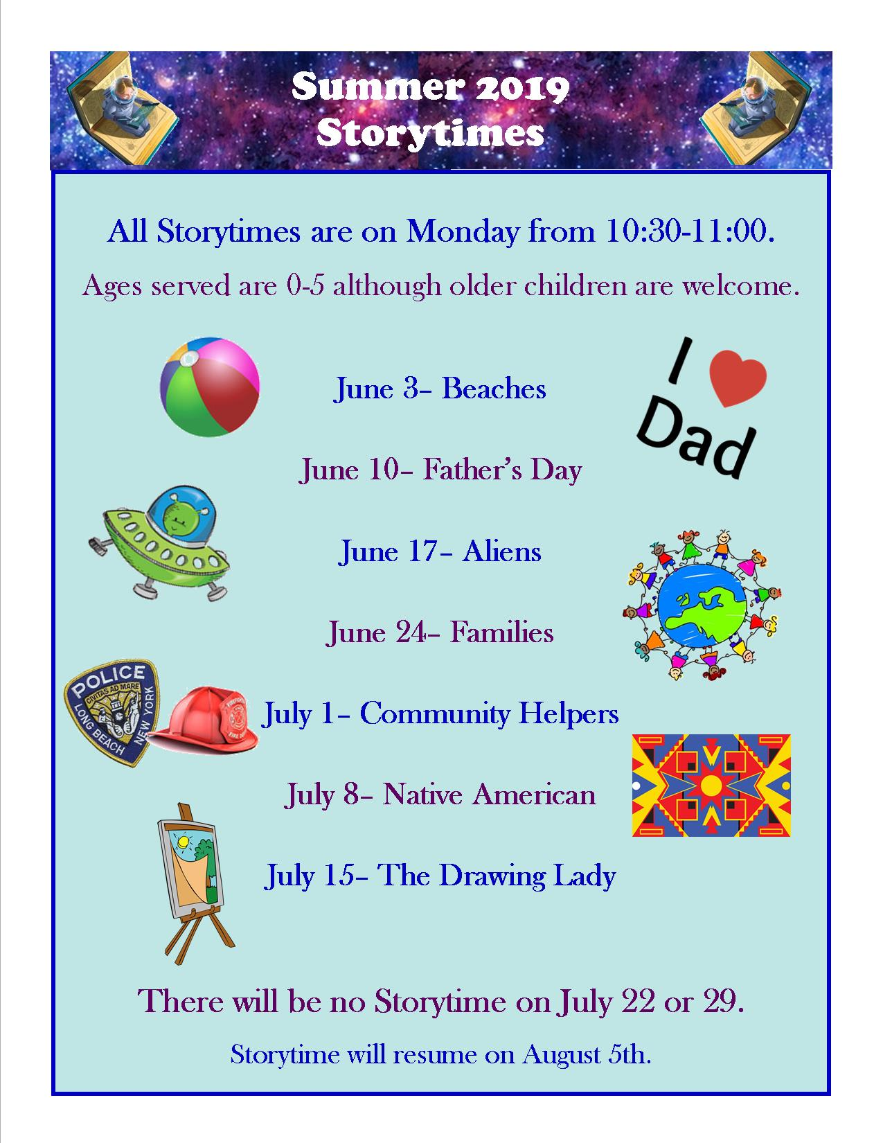 Summer Storytime Themes and Dates