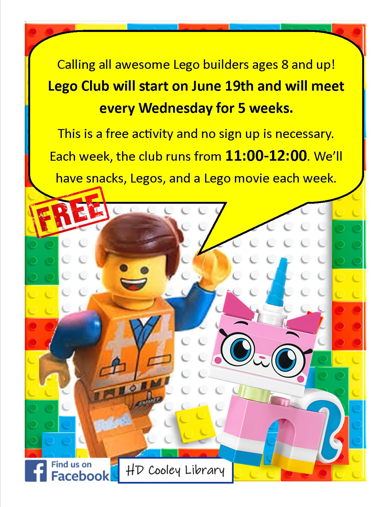 Lego Club dates and times