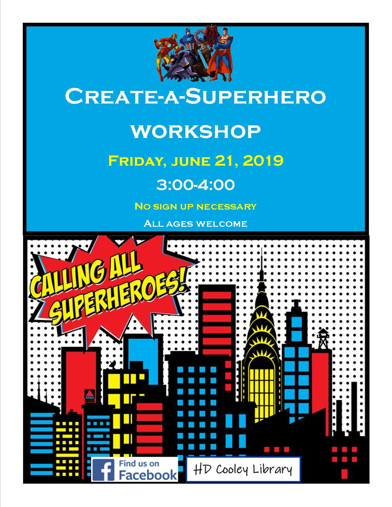 Superhero Workshop date and time