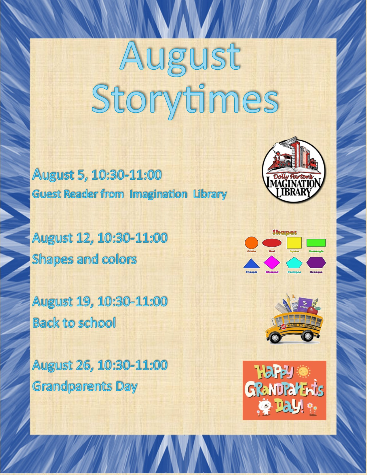 August Storytimes Dates and Times