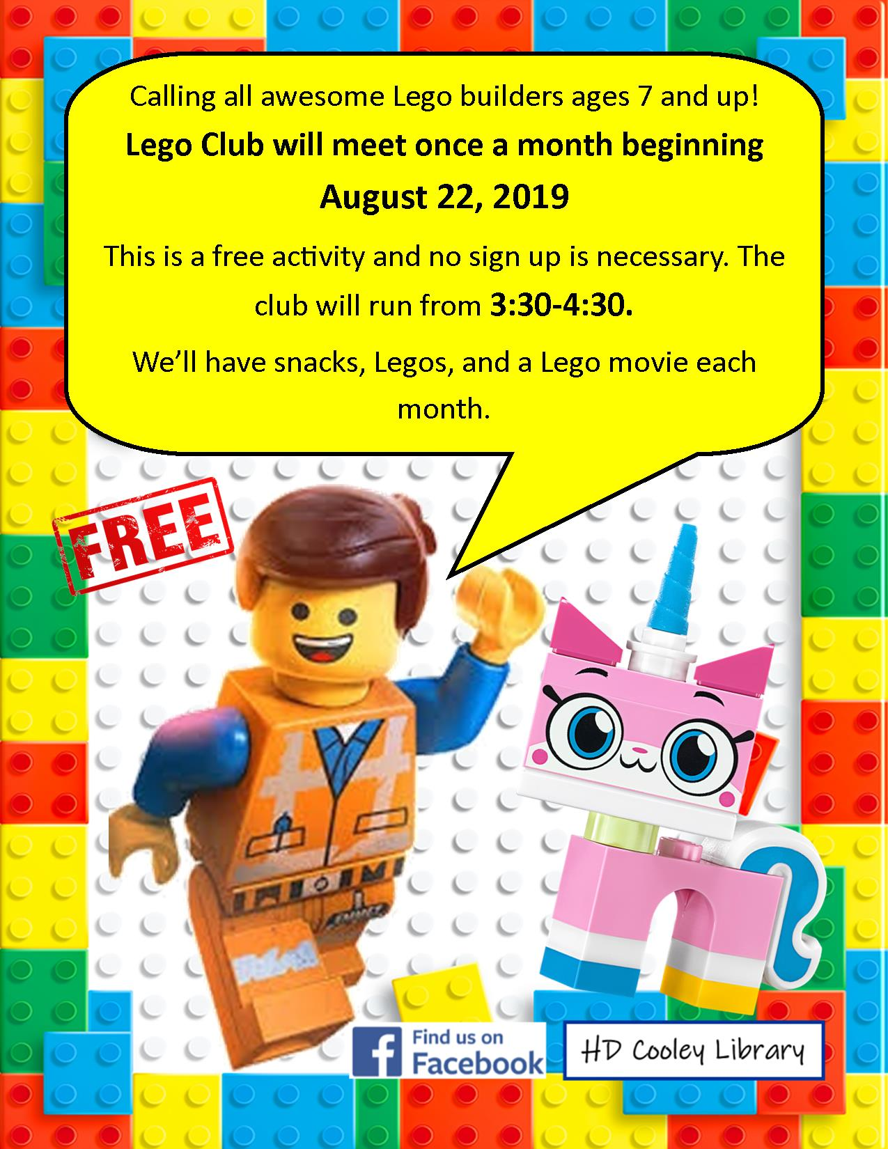 Monthly Lego Club date and time