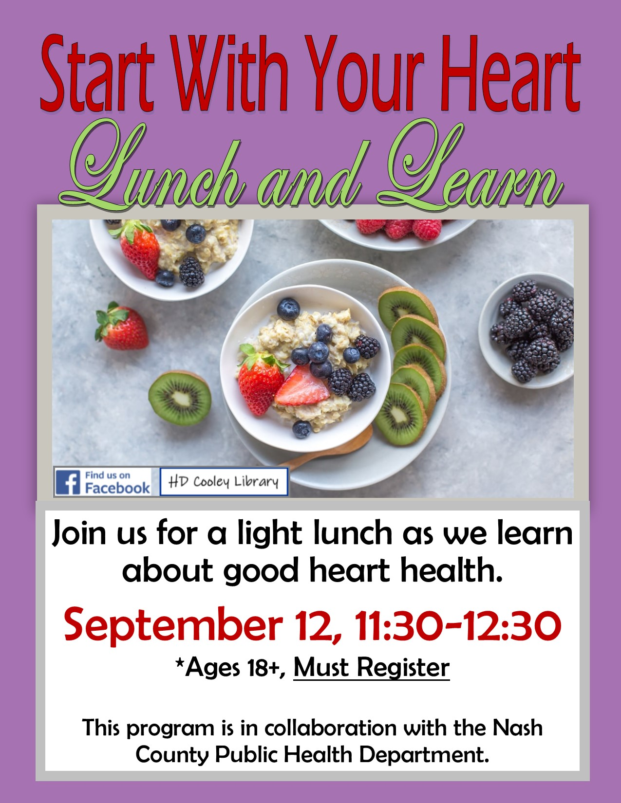 Heart Health Lunch and Learn date and time