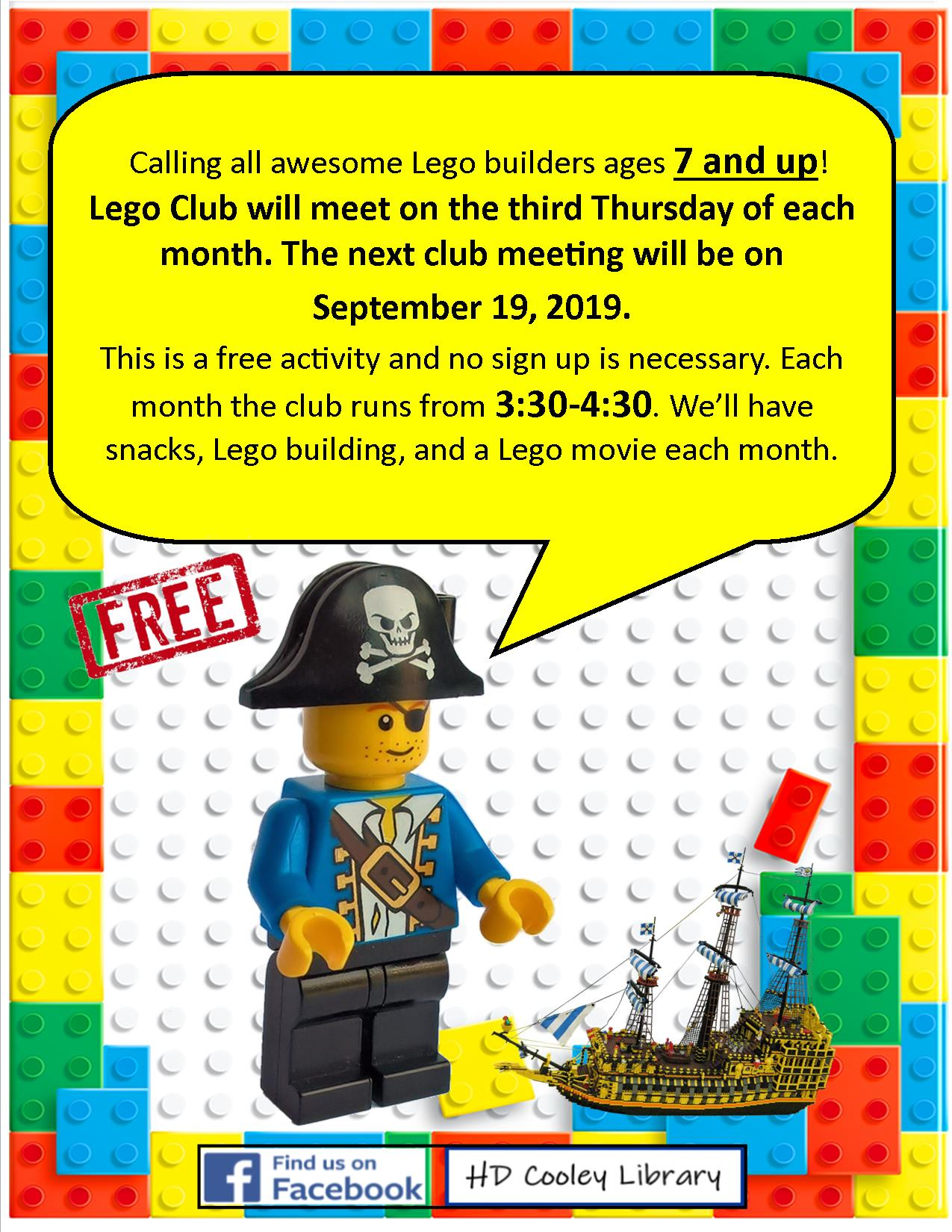 Lego Club date and time