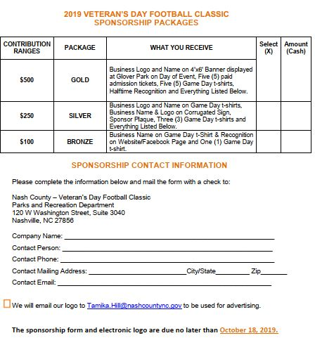 Veteran's Day Classic Registration Form