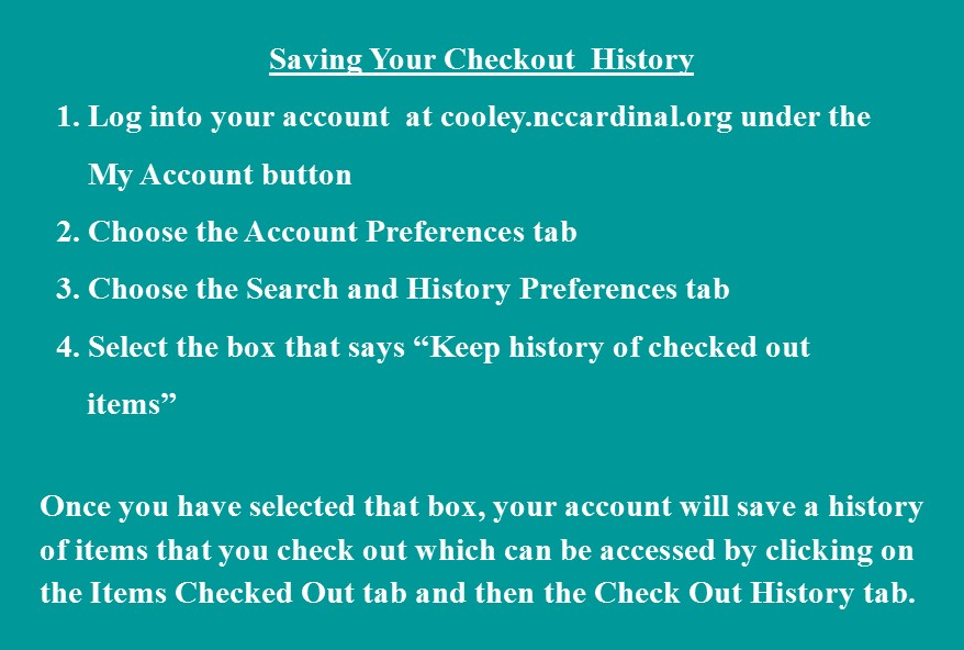 Check Out History Instructions for online account