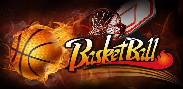 The word basketball written with a goal and a flaming basketball